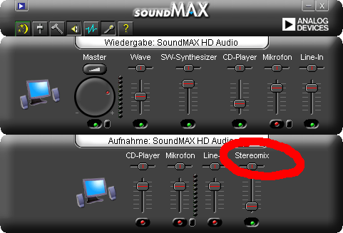 SoundMAX with StereoMix enabled